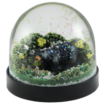 Waterglobe. Black Base. Bear. Black. Walking.