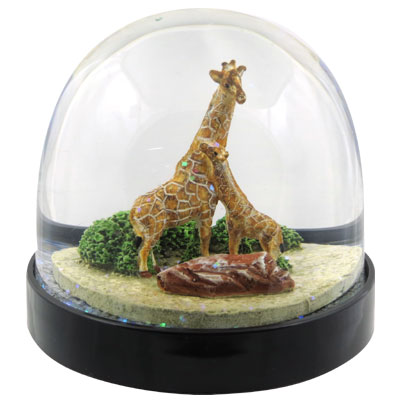 Waterglobe. Black Base. Giraffe.