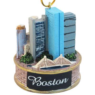 Ornament. Polyresin. MA. Boston. Skyline. 3D.