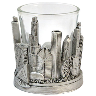 Shot Glass. IL. Chicago. Skyline. Metallic. Silver.