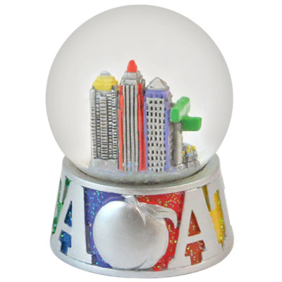 Waterglobe. Glass. 65 mm. GlitterBase. GA. Atlanta.