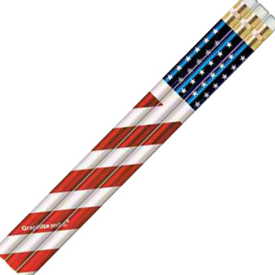 Pencil. Wood. Prizm. USA. Flag. Foil.