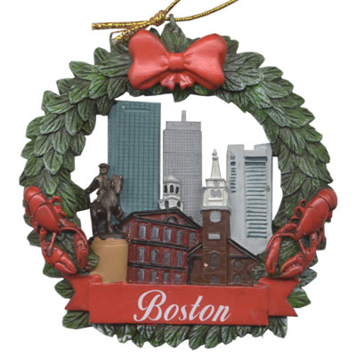 Ornament. Polyresin. Wreath. MA. Boston.