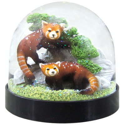 Waterglobe. Black Base. Red Panda.