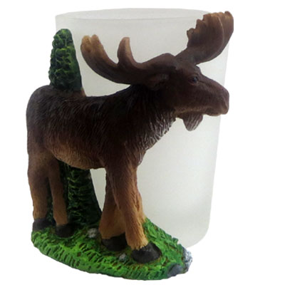 Shot Glass. With Resin Figure. Moose.