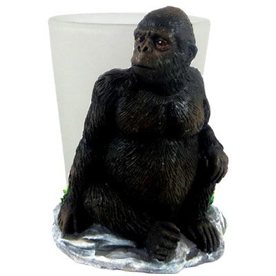 Shot Glass. With Resin Figure. Gorilla.