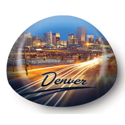 Paperweight. Glass. 80mm. CO. Denver. Traffic.