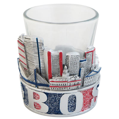 Shot Glass. GlitterBase. MA. Boston. Fenway Park.Red and Blue.