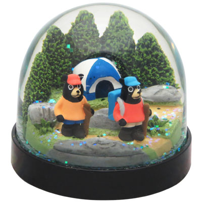Waterglobe. Black Base. Bear. Hiking.