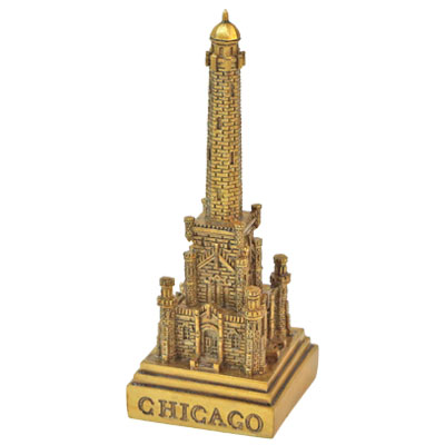 Figure. Polyresin. IL. Chicago. Water Tower. Metallic. Gold.
