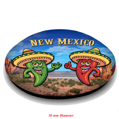 Magnet. Glass. Round. 50mm. NM. New Mexico. Chili Peppers. Sombrero.