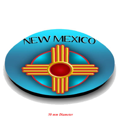 Magnet. Glass. Round. 50mm. NM. New Mexico. Zia Symbol.