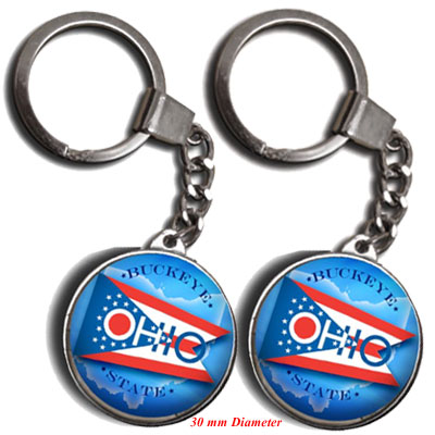 Key Holder. Glass. Round. 30mm. OH. Ohio.