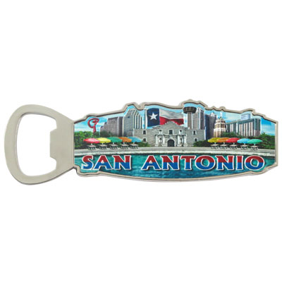 Magnet. Bottle Opener. Metal. Foil. TX. San Antonio.