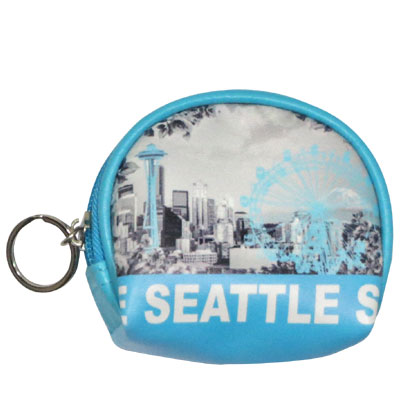 Coin Purse with  Key Holder. Round. WA. R.R. Seattle. Blue. Skyline. WSE74114-L.