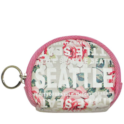 Coin Purse with  Key Holder. Round. WA. R.R. Seattle. Grey. Floral. WSE74102-C.