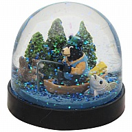 Waterglobe. Black Base. Bear. Fishing.