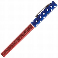 Pen with Cap. Prizm. Flag. Red Barrel. Stars on Blue Cap.