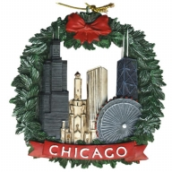Ornament. Polyresin. Wreath. IL. Chicago.