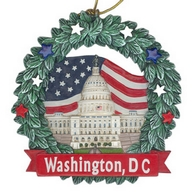 Ornament. Polyresin. Wreath. DC. Capitol.