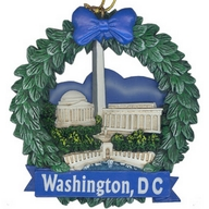 Ornament. Polyresin. Wreath. DC. Monuments. Jefferson, Lincoln, and Washington. Wreath Style