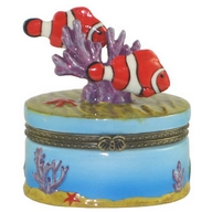 Box. Porcelain. Tropical Fish. Clown Fish.
