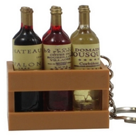 Key Holder. Wine Bottles in Basket.
