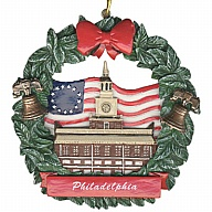 Ornament. Polyresin. Wreath. PA. Philadelphia.