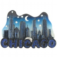 Magnet. Polyresin. IL. Chicago. Blue Glitter.