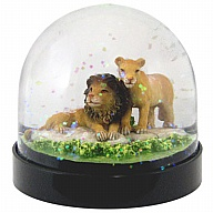 Waterglobe. Black Base. Lion.