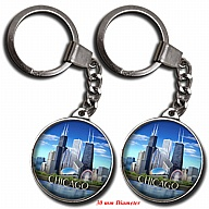 Key Holder. Glass. Round. 30mm. IL. Chicago. Skyline. Day.