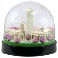 Waterglobe. Black Base. DC. Monuments. Cherry Blossoms.