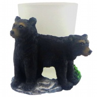 Shot Glass. With Resin Figure. Black Bear.