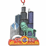 Ornament. Polyresin. IL. Chicago. Marquee.