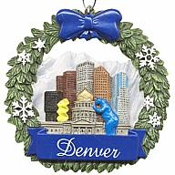 Ornament. Polyresin. Wreath. CO. Denver.