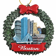 Ornament. Polyresin. Wreath. MA. Boston. Skyline.