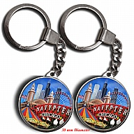 Key Holder. Glass. Round. 30mm. IL. Chicago. Navy Pier.