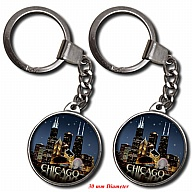 Key Holder. Glass. Round. 30mm. IL. Chicago. Skyline. Night.