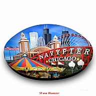 Magnet. Glass. Round. 50mm. IL. Chicago. Navy Pier.