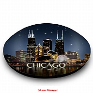 Magnet. Glass. Round. 50mm. IL. Chicago. Skyline. Night.