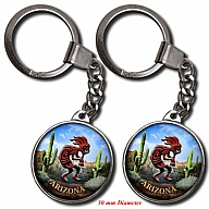 Key Holder. Glass. Round. 30mm. AZ. Kokopelli.