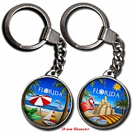 Key Holder. Glass. Round. 30mm. FL. Florida.
