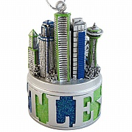 Ornament. Polyresin. GlitterBase. WA. Seattle. Blue and Green. 3D.
