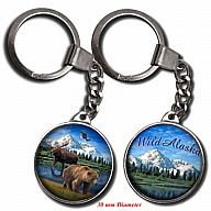 Key Holder. Glass. Round. 30mm. AK. Alaska. Animals.