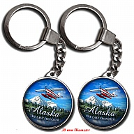Key Holder. Glass. Round. 30mm. AK. Alaska. Float Plane.