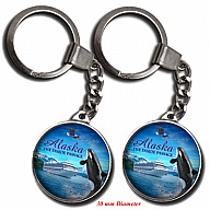 Key Holder. Glass. Round. 30mm. AK. Alaska. Inside Passage.