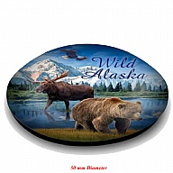 Magnet. Glass. Round. 50mm. AK. Alaska. Animals.