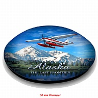 Magnet. Glass. Round. 50mm. AK. Alaska. Float Plane.
