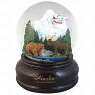Waterglobe. Glass. 65 mm. AK. Alaska. Animals.
