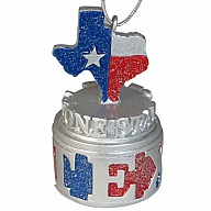 Ornament. Polyresin. GlitterBase. TX. Texas. Red and Blue. 3D.